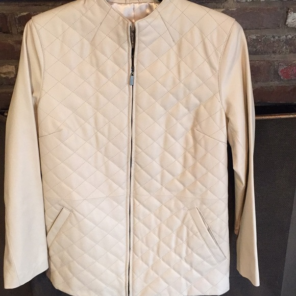 874449edd3d3 Pamela McCoy Jackets & Coats | Off White Quilted Leather Jacket ...